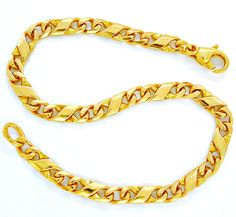 Foto 2, Armband massiv 14K/585 Gelbgold Dollar-Design Shop Neu!, K2862