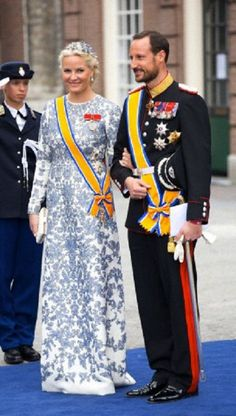 Crown Prince Haakon and Crown Princess Mette-Marit of Norway leave the Nieuwe Kerk in Amsterdam after the Inauguration of King Willem Alexander