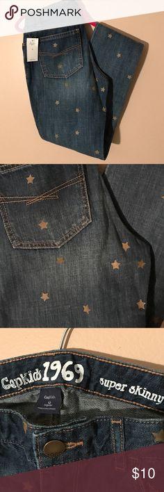 Gap Kids Super Skinny Denim - Girls Size 12R New with Tag Gap Kids Super Skinny Denim, Dark Wash with Shimmery Gold Stars - Girls Size 12R GAP Bottoms Jeans