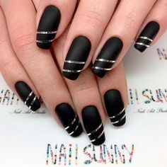 Top Most Creative Black Acrylic Nails Designs ★ See more: https://naildesignsjournal.com/creative-black-acrylic-nails/ #nails (HOW R THEY GETTING THOSE THIN STRIPS OF SILVER? I'VE NEVER SEEN POLISH THIS COLOR / OR THE GOLD FOR THAT MATTER! DYING TO TRY IT!!) J