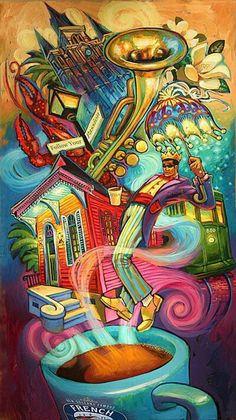 The Flavor of New Orleans by Terrance Osborne.makes me think of the Harlem Renaissance - Luxurious Decorating Ideas Coffee Love, Coffee Art, Coffee Shop, New Orleans Art, New Orleans Tattoo, New Orleans Decor, Louisiana Art, Louisiana Tattoo, Photo Images