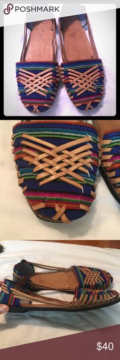 Like new! Mexican Huaraches Mexican Huarache flats, only worn once. Super comfortable and fit true to size. I wear size 9 and these fit me good. Shoes Flats & Loafers