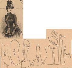 Der Bazar 1886: Springtime paletot from blue English woollen; 19. bodice's insertion, 20. belt, 21. bodice's front part, 22. side gore, 23. back part in half size, 24. front collar insertion, 25. collar in half size, 26. and 27. sleeve parts