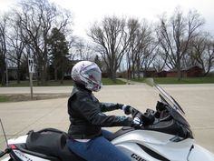 Nanc Ulicki (Keith's wife) enjoying the ride on her Spyder.  The Spyder has two wheels upfront with one in the rear. Go Nanc!