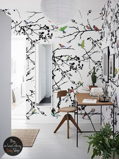 Bird wall mural Removable wallpaper Peel and stick bird wall art Tree wallpaper Drawing wall decor Watercolor wallpaper # 38