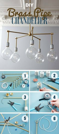 Check out how to make this easy DIY brass pipe chandelier @istandarddesign