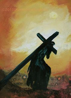 Donna Holdsworth - The Way Of The Cross. It is Holy Week. Donna did this painting in honor of Jesus and his suffering and sacrifice for all of humanity. Acrylic and collage