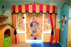 Happy circus mural by annienewman.co.uk. The parents wanted to bring out the creative spirit in their children and also they had fantastic memories of circuses during their own childhood .We recreated the past and the present for them .UK (07946047959)