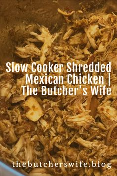 Easy Mexican Shredded Chicken in the slow cooker- perfect for enchiladas, tacos, burritos, salads, quesadillas, nachos and more! Meat Recipes, Fall Recipes, Mexican Food Recipes, Crockpot Recipes, Food Out, Good Food, Simply Shredded, Mexican Shredded Chicken, Best Slow Cooker
