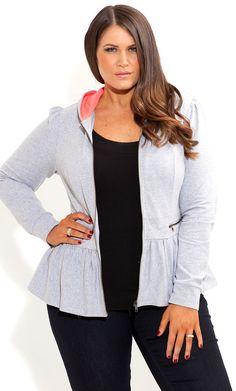 City Chic - PEPLUM HOODIE - Women's plus size fashion