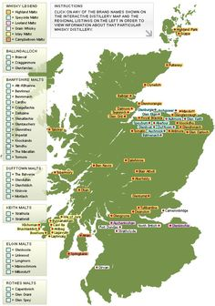 Interactive whisky distillery map of Scotland. Super important info here!! So looking forward to our trip