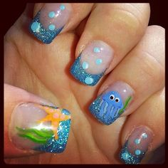Ocean Nails by Glitzy21 - Nail Art Gallery nailartgallery.nailsmag.com by Nails Magazine www.nailsmag.com #nailart