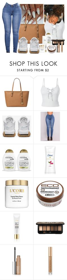 """""""Untitled #202"""" by xgoldenrose ❤ liked on Polyvore featuring MICHAEL Michael Kors, LE3NO, NIKE, Organix, Eco Style, Milani, Clinique and Kevyn Aucoin"""