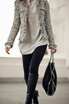 Leggings with a tweed jacket