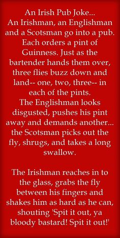 An Irish Pub Joke... An Irishman, an Englishman and a Scotsman go into a pub. Each orders a pint of Guinness. Just as the bartender hands them over, three flies buzz down and land-- one, two, three-- in each of the pints. The Englishman looks disgusted,...