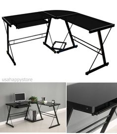 Black Glass Corner Computer Desk L Shaped Office Furniture Table Workstation New #WEFurniture