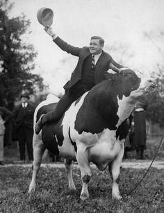 The King Of Crash Babe Ruth astride King Jess a Holstein Bull New Jersey 1922 http://ift.tt/2BeI0sC