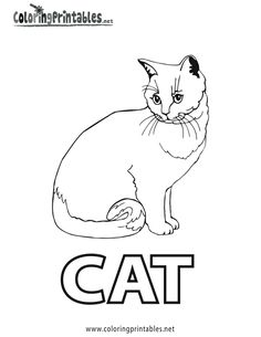 Spell Cat Coloring Page Printable