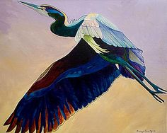 Flight of the heron. Blue heron painting by Sherry Shipley