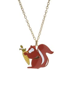 This Brown Enamel & Goldtone Squirrel Pendant Necklace is perfect! #zulilyfinds