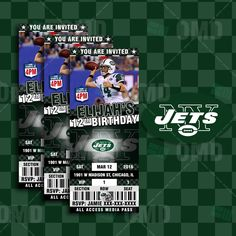 New York Jets Sports Party Invitation, Sports Tickets Invites, Football  Birthday Theme Party Template By Sportsinvites