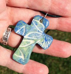 Hawaiian cross  Unique and beautiful Hawaiian inspired cross necklace. 1 3/4 inch polymer clay cross handmade by me, stamped, fired, painted and