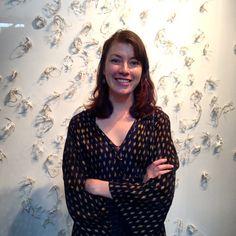 #LouiseMorgan with her paper skeleton installation 'Symptoms' 2014 #PaperWorksIII @llemorga