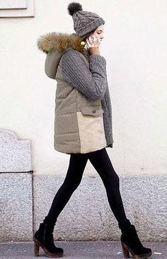 Cozy Grey Parka - Features Lamb Wool Hem