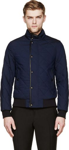 $1,695, Navy Bomber Jacket: Burberry London Navy Quilted Bomber Jacket. Sold by SSENSE. Click for more info: http://lookastic.com/men/shop_items/163107/redirect