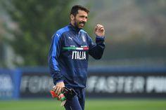 Gianluigi Buffon of Italy smiles during an Italy training session at Juventus Center Vinovo on October 8, 2016 in Vinovo, Italy.