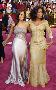 Oprah Winfrey (right), shown here with Halle Berry at the February 2005 Academy Awards in Los Angeles, has beautiful clothes in various sizes, many of which are for sale at the Oprah store.