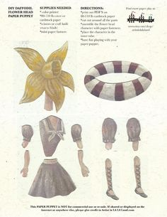DIY Daffodil Swimmer Printable PDF Paper Doll von ArtistInLALALand