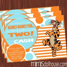 http://mimisdollhouse.com/product/tigger-invitation/  Tigger Invitation  The Tigger invitation is personalized to include Name, Age, Date, Time, Location, and RSVP and photo (optional).  The Tigger invitation is available in printable JPED and PDF formats.  A coordinating decorations package is available for this theme: http://mimisdollhouse.com/product/tigger-party-printable-collection/  #Tigger #TiggerInvitation #TiggerParty #BirthdayParty
