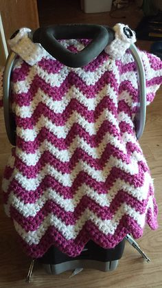 Wonderfully soft car seat canopy cover blanket that works up surprisingly fast! It just takes 2 skeins: crochet pattern for purchase