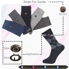 Our rivets for sock products, which we produce for the purpose of visual use in socks, are included in our prong snap buttons with cap, hollow cap and prong snap button group, which are manufactured in brass material and are resistant to corrosion.  #Textile #atabuttons #textileaccessories #Turkey #hooks #rivets #madeinTurkey