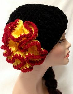 Womens Crochet Flower Derby Hat  FREE Shipping US by Africancrab, $15.00