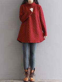 Sale 28% (24.59$) - Vintage Plaid Long Sleeve Thick Loose Winter Women Dress