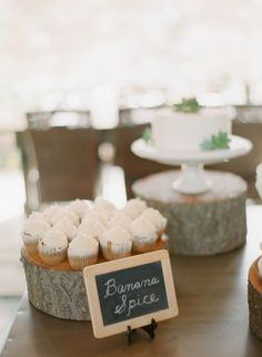 cupcakes on wood stumps #rusticwedding #cupcakes #weddingchicks http://www.weddingchicks.com/2014/01/09/southern-wedding/