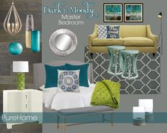 Dark and Moody Bedroom Inspiration Board by Jackie Hernandez, Teal & Lime | Pure Home Tastemaker