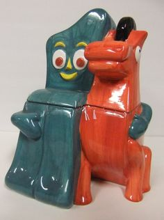 Gumby & Pokey Cookie Jar made by Clay Art