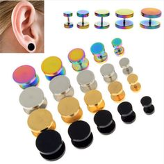1PC Stainless Steel Double Side Earrings Barbel Punk Gothic Black Silver Gold Colorful Plated Stud Earrings for Men Women