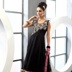 Black Net and Jacquard Net Readymade Anarkali Churidar Kameez