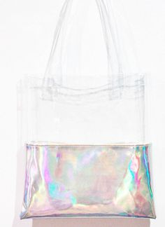 Holographic Tote Half Clear Half Transparent by pingypearshop My Bags, Purses And Bags, Sac Week End, Transparent Bag, Clear Bags, Cute Bags, Pouch Bag, Holographic, Cute Handbags