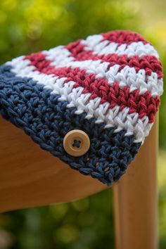 Crochet Patriotic Hat, Red, White, Blue, Wooden Button, 4th July, Holiday, Baby, Newborn, READY TO SHIP, via Etsy.
