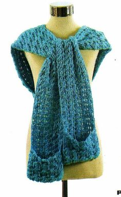 handmade crocheted fabrics: woven scarf with hood in crochet Woven Scarves, Crochet Scarves, Crochet Shawl, Leg Warmers, Mittens, Cowl, Knitting, Handmade, Scarfs