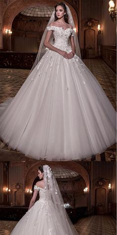 Stunning A-line Tulle Off-the-shoulder Ball Gown Wedding Dress With Lace Appliques,WDY0177#wedding dress#