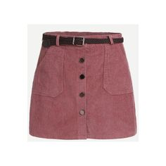 Pink Corduroy Single Breasted Pockets Skirt With Belt ($12) ❤ liked on Polyvore featuring skirts, pink knee length skirt, corduroy skirt, red corduroy skirt, red skirts and pink skirt
