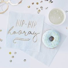 """Ginger Ray Gold & Blue Hip Hip Hooray Lunch Napkins are perfect for holding delicious snacks in style as you and your guests celebrate! These square paper napkins feature pastel blue stripes and a shiny gold """"Hip-Hip hooray"""" message in script. Blue Birthday Parties, Birthday Cup, Blue Party, Hip Hip, Pastell Party, Gift Ribbon, Blue Candles, Party Decoration, White Balloons"""