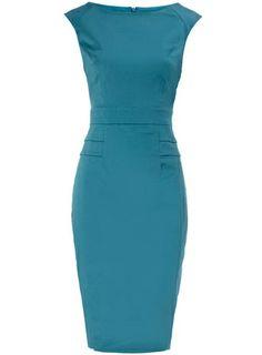 Evening Dresses .Aqua peplum structured dress.