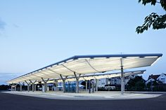 Bus station, Königsbrunn – PVC-coated polyester membrane roof - {{page::rootPageTitle}} - Temme Obermeier | Experts for Membrane Building